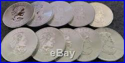 1 Ounce Silver Maple Leafs. 9999 Fine Silver Bullion, Lot Of 10 (2014)