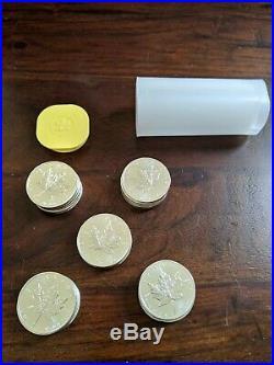 1 Tube of 25 (2011) Canadian 9999 Silver Maple Leaf Bullion Coins- mint & uncirc