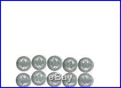 10 CANADA $5.00 Maple Leaf Silver Dollars 1oz. Fine Silver 20015-2016- ALL UNC