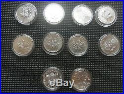 10 oz x 2012 2013 2014 Canadian 1 oz maple leaf Silver mix Bullion coin