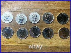 10 x 1oz 9999 Silver Maple Leaf 2010 Coins