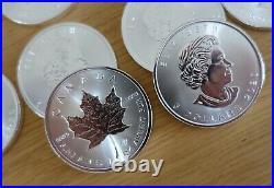 10 x 1oz silver 2020 Canada maple leaf. 999 fine bullion coins