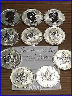10 x 2011 Canadian 1 oz maple leaf 999.9 Silver Bullion Coins