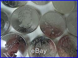 10 x 2015 Austria 1oz 999 Silver 1.5 Euro Philharmonic + Canada Maple-Leaf Coins