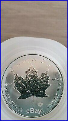 100 x 1oz 2020 Canadian Silver Maple Leaf Coins 9999 bullion in mint tubes
