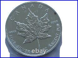 10oz 1oz. 9999 Pure Fine Silver Canadian Maple Leaf Coin Rare 1990 BU