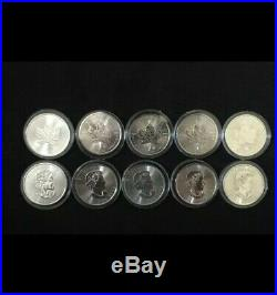 10x 1oz 2019 Canadian Maple Silver Bullion Coins 999.9 Silver. Plastic capsules