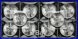 10x 2019 1 oz Canadian Silver Maple Silver Bullion Coins IN SLEEVES