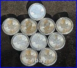 10x 2020 Uncirculated 1oz. 9999 Maple Leaf Silver Bullion Privy coin in capsule