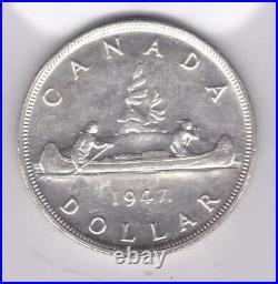 1947 Canada $1 George VI Silver Dollar with Maple Leaf