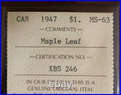 1947 Canada Silver Dollar Maple Leaf MS63