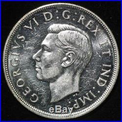 1947 Canadian Silver Dollar Maple Leaf variety