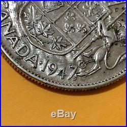 1947 ML Canada, Maple Leaf, 50 Cents /Half Dollar, Silver Coin, Canadian Antique
