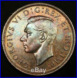 1947 ML Canada Silver Dollar Maple Leaf. Colorfully Toned. Rare Key Date coin