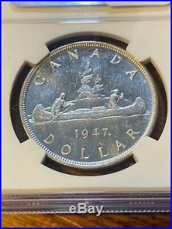 1947 Maple Leaf Canada Silver Dollar. Ngc Ms62