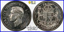 1947 Straight 7 Maple Canada 50 Cents Half Dollar PCGS MS63 Lot#G859 Silver