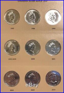 1988-2010 Canadian Silver Maple 24 Coin Set 1 Oz. 999 Pure Bullion Dansco