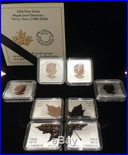 1988-2018 Maple Leaf Quartet Rose Gold-plated Pure Silver 4x$3 Proof Canada Coin
