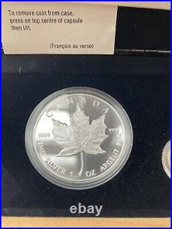 1989 Royal Canadian Mint Maple Leaf 5 Dollar Coin Set Gold Platinum Silver