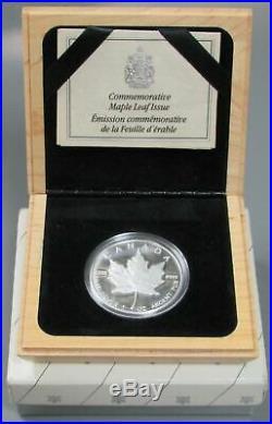 1989 SILVER CANADA 1oz PROOF $5 MAPLE LEAF 10 YEAR ANNIVERSARY BOX & COA