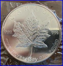 1990 Silver Maple Leaf 1 pound Silver Coin. 999 Fine Silver
