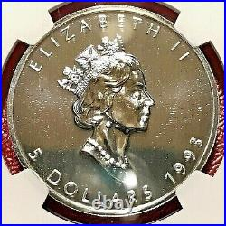 1993 $5 Canada Silver Maple Leaf Ngc Ms-69