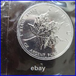 1993 Elizabeth II Canada $5 One Ounce. 999 Fine Silver Coin Maple Leaf 10 COINS