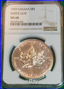 1997 1 Oz. Silver Maple Leaf $5 NGC MS 68 Only 100,970- Low Population NGC 81