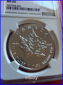 1997 1 Oz. Silver Maple Leaf $5 NGC MS 69 Low Pop Highest Grade Key Date