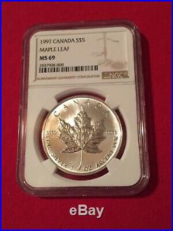 1997 1 Oz. Silver Maple Leaf $5 NGC MS 69 Lowest Mintage KEY DATE Highest Grade