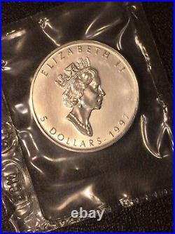 1997 Canada Silver Maple Leaf 5 DOLLAR 1 Oz KEY DATE Lowest Mintage Sealed RCM