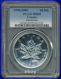 1999-2000 Canada $5 Silver Maple Leaf PCGS MS69 Firework Privy Pop 3 / 0 (03/20)