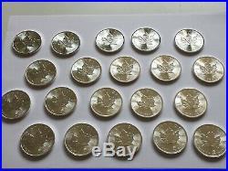 20 X 1 Oz Maple Leaf 2015 5 Dollars Canada Cad Piece Argent Silver 999,9/1000