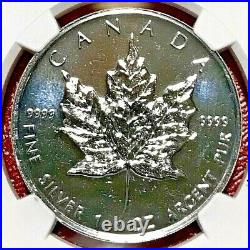 2001 $5 Canada Silver Maple Leaf Ngc Ms-69