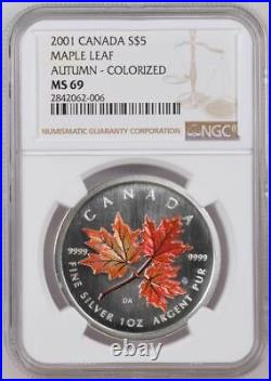 2001 CANADA $5 MAPLE LEAF AUTUMN NGC MS69 or SP69 /w ALL PACKAGING SILVER