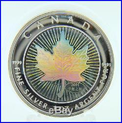 2001 Canadian Silver Proof Maple Hologram 5 Dollar Coin With Chinese Privy Mark