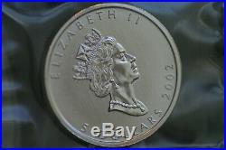 2002 Canada Original sheet of 10 x 1 oz mint sealed $5 99.99% Silver Maple Leaf