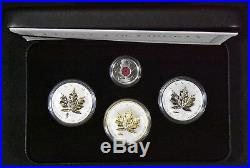 2004 2005 4 Coin Proof Legacy of Liberty. 999 Silver Maple Leaf Set Poppy Canada