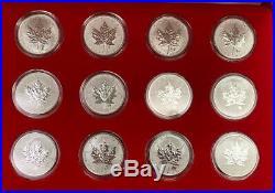2004 CANADA 12PC 1 OZ SILVER MAPLE LEAF With EACH DIFFERENT PRIVY MARK! GEM BU