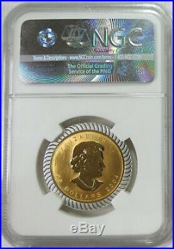 2004 Canada 25th Anniv. 1/2 oz. Gold Maple Leaf Silver Bimetallic NGC MS 69