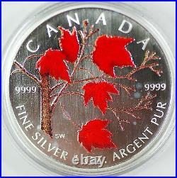 2004 Canada Silver Maple Leaf Coloured Coin 1oz. 9999 with Box & COA