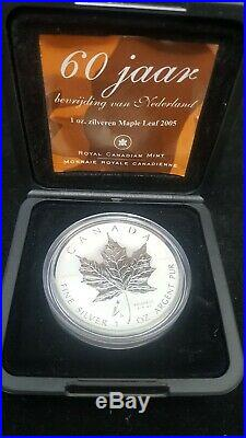 2005 CANADA $5 SILVER MAPLE LEAF Tulip privy Reverse proof coin in OGP