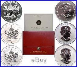 2005 Canada $5 WWII 3 Coin Silver Maple Leaf Set V-E, V-J, End Of War OGP Rev Pf