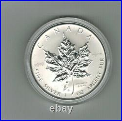 2005 TRIPLE PRIVY TULIP 1 oz PURE SILVER MAPLE LEAF COIN 3500 MADE LOWEST STRUCK