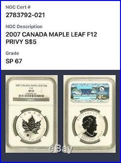 2007 Canada Silver Maple Leaf $5 1 Oz Specimen Finish NGC SP67 Rare