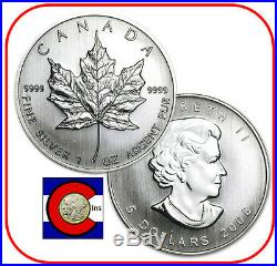 2008 Canada 1 oz Silver Maple Leaf Roll - 25 Canadian Coins in Tube