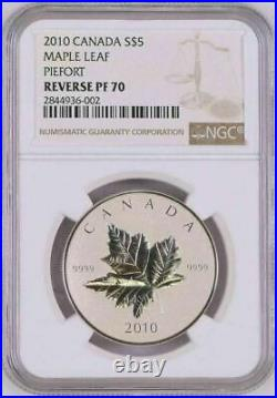 2010 Canada $5 Piedfort Maple Leaf Ngc Reverse Pf70 Silver Coin