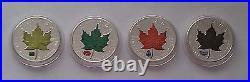 2010 Canada Maple Leaf $5 Dollar (4 1 oz) Silver Colourised Coin Set