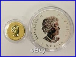 2010 Canada Piedfort 1/5 oz Gold & 1oz Silver 2x Coin Maple Leaf Mint Set