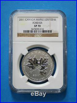 2011 CANADIAN $10 Silver Maple Leaf Forever Reverse Proof (NGC SP70)